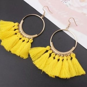 Boho Fan Fringe Hoop Earrings Yellow